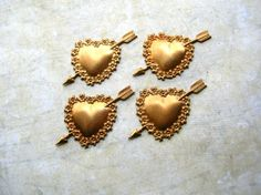 Brass heart stampings  Jewelry supply by 2VintageGypsies on Etsy, $3.95