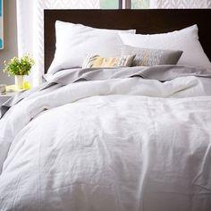 Belgian Linen Duvet Cover + Shams | West Elm - maybe master bedroom