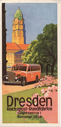 """GERMANY - """"Dresden Reichspost - Rundfahrten,"""" 1936. TRAVEL BROCHURE"""