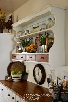 custom shelving from a hutch topper, chalk paint, painted furniture, shelving ideas Kitchen Wall Shelves, Kitchen Hutch, Kitchen Furniture, Kitchen Decor, Refurbished Furniture, Repurposed Furniture, Furniture Makeover, Diy Furniture, Painted Furniture