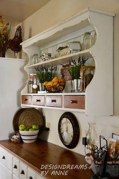 Hometalk :: Custom shelving from a hutch topper