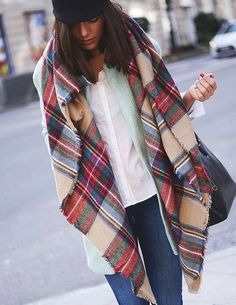 Plaid scarf for women. Stocking stuffer idea. Christmas gift.