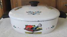 Vintage Enamel Berggren Swedish Dutch Oven  White w/Color Retro Pan Pot