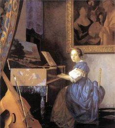 View: Johannes Vermeer, A Young Woman seated at a Virginal. Read about this painting, learn the key facts and zoom in to discover more. Johannes Vermeer, Devin Art, National Gallery, Pablo Neruda, Oil Painting Reproductions, Online Painting, Delft, Art World, Oil On Canvas