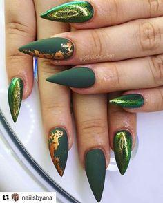 Military green stiletto nails