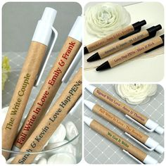 Personalized eco friendly sturdy paper pens - wedding favors - retirement - family reunion - birthda