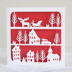 winter village christmas card by whole in the middle | notonthehighstreet.com