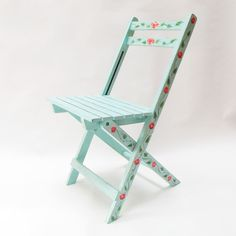 Folding chair hand-painted. Collapsible chair. by PETULAPLAS