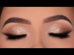 Soft Glitter Eye Makeup for Wedding / Party / Special Occasion! Golden Eye Makeup, Soft Eye Makeup, Makeup Geek Eyeshadow, Eye Makeup Steps, Glitter Eye Makeup, Makeup Eye Looks, Simple Eye Makeup, Smokey Eye Makeup, Simple Party Makeup