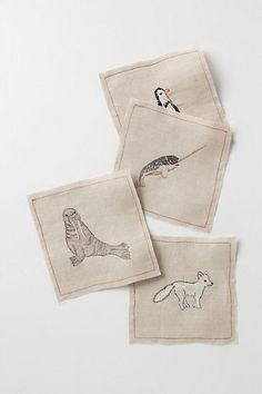 Admittedly this is a 4 napkin set for $78 but CUTENESS. North Pole Napkin Set #anthropologie