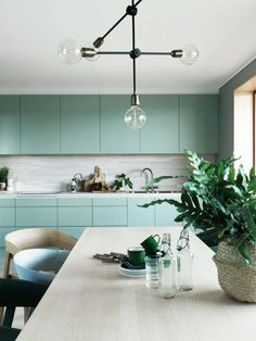 Beautiful turquoise kitchen. Simple shapes make it feel modern