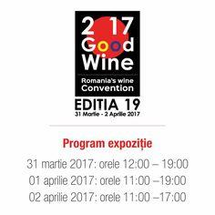 GOODWINE, cel mai mare eveniment din România dedicat vinului!            Începând cu această ediție, târgul se va desfășura în două pavilioane Romexpo: C4 și C5 între 31 Martie şi 2 Aprilie.  Bilete Standard: 50 Lei  ~ acces general cu degustări la standurile participanților GOODWINE.  Bilete VIP: 100 Lei ~ acces general + acces la VIP Lounge unde au loc degustări de cognac și șampanie premium și superpremium.  Pentru bilete accesează: http://bit.ly/GoodWine2017