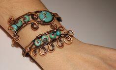 turquoise bracelet wire wrapped jewelry handmade di BeyhanAkman