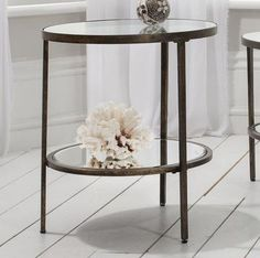 Temperley Bronze Round Glass Side Table by Alexander and Pearl