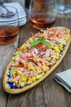 Michigan Corn Salad with Honey Smoked Salmon Honey Smoked Salmon Recipe, Light Summer Meals, Lunch Catering, Seafood Market, Shellfish Recipes, Seafood Salad, Corn Salads, Honey Recipes, Ann Arbor