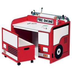 Fire Engine Toy Box/Art Desk | Shared by LION