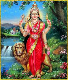 Devi Parvati Standing is Lion Saraswati Goddess, Indian Goddess, Goddess Lakshmi, Shri Hanuman, Durga Maa, Shiva Shakti, Durga Picture, Maa Durga Photo, Durga Images