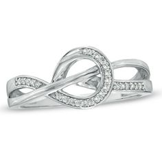 Diamond Accent Knot Ring in 10K White Gold - Zales