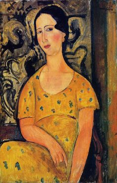 Oil Painting by Italian Expressionist Artist Amedeo Modigliani Young Woman in a Yellow Dress (Madame Modot)