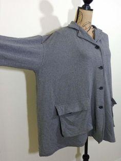 Blanque jacket lagenlook top art to wear gray designer upscale artsy sz OS #Blanque #BasicJacket