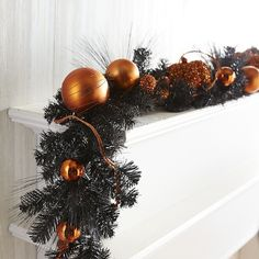 Pier 1 Imports Multi-colored Pumpkin & Ornament Garland ($50) ❤ liked on Polyvore featuring home, home decor, holiday decorations, multicolor, pier 1 imports, glass ball ornaments, colorful ornaments, halloween home decor and colorful home decor