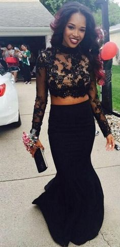 2016 Two-Piece Long Sleeves Lace Top Mermaid Black Prom Dresses