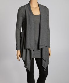 Another great find on #zulily! Poliana Plus Charcoal Ribbed Layered Top - Plus by Poliana Plus #zulilyfinds