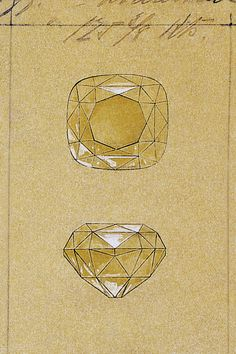 An archival sketch of the Tiffany Diamond, the most famous yellow diamond on earth.