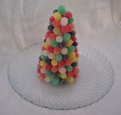 BEST craft! all ages. Cut toothpicks in half to attach gum drop to Styrofoam cone