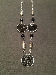 nespressart bijoux: collana lunga nera e argento