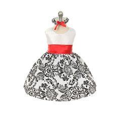 Red Artsy Damask Infant Dress