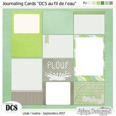 Journaling Cards - DCS Au fil de l'eau - Août 2017 #digiscrapbooking #freebies #DCS #journalingcard