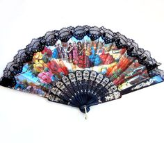 Vintage Hand Fan, Black Lace, Spain / Spanish
