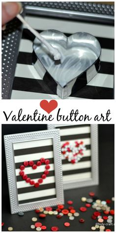 How to make your own Valentine button art for just a dollar or two valentines day party dekor How to make Valentine's day button framed art work - Debbiedoos Valentine Crafts For Kids, My Funny Valentine, Valentines Day Party, Valentines Day Decorations, Happy Valentines Day, Valentine Gifts, Printable Valentine, Homemade Valentines, Valentine Wreath