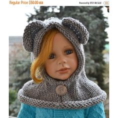 SALE 5% OFF Knitted hood (185 PLN) ❤ liked on Polyvore featuring accessories and hats