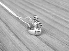 Rubber Duck Necklace Sterling Silver Rubber by GirlBurkeStudios.  $46.70