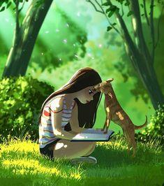 Best Friend Pictures, Digital Art Girl, Girl And Dog, Cute Illustration, Website Illustration, Pictures To Draw, Dog Art, Illustrations, Cartoon Art