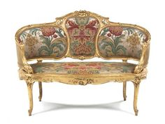 A Louis XV Style Giltwood Settee, Width 50 inches.