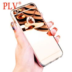 Phone Case Fashion Luxury Mirror Soft  TPU Frame Cover For iPhone 6 5 5S 6s 6Plus 7 7 Plus Ultra Slim Clear Phone Case