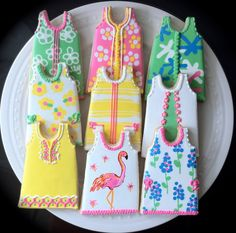 Lilly Pulitzer Inspired Shift Dress Decorated Cookies, Perfect for your summer party.. $52.00, via Etsy.