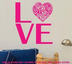 LOVE WITH PRETTY HEART WALL ART STICKER SML VINYL DECAL