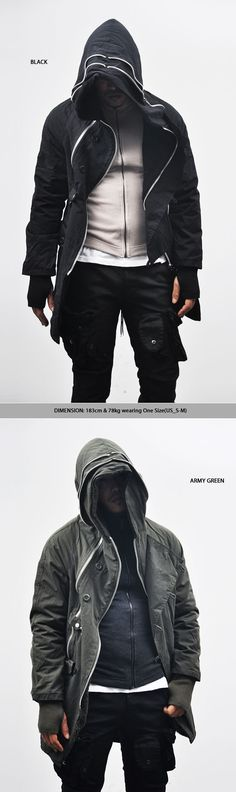 Outerwear :: Parkas :: Powerful Avant-garde Tough-edge Zippered-Parka 11 - Mens Fashion Clothing For An Attractive Guy Look