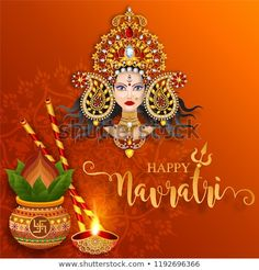 Happy navratri festival card with gold With Beautiful goddess Durga Puja Face and crystals on paper color Background. Happy Navratri Wishes, Happy Navratri Images, Durga Images, Lakshmi Images, Navratri Messages, Happy Dusshera, Navratri Festival, Happy Images, Durga Puja