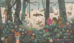 Greg Abbott / Ilustrador/diseñador • Me atrae el estilo de sus dibujos con texturas, infantiles, llenos de cierta magia.