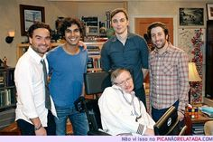 BBT male cast with Stephen Hawking on set. Entertainment