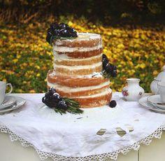 Vanilla Bean Blackberry Cake With Rosemary Buttercream & Honey Chamomile Syrup