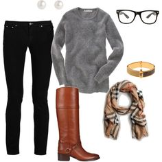 """Preppy Casual"" by crstamey on Polyvore- everything is perfect except the glasses."