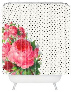 Allyson Johnson Floral Polka Dots Shower Curtain eclectic-shower-curtains