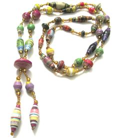 Paper beads necklace-Handmade paper beads-Recycled paper beads-Eco friendly-Long…