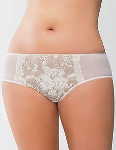 Bold lace paneling adds flirtatious femininity to our fabulous mesh hipster panty. Our most popular silhouette, the hipster features a low rise and full back coverage. #LaneBryant #Cacique